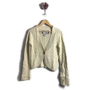 Fossil Cable knit Cropped Button Closure Cardigan